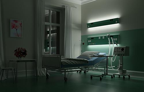 Krankenhausbett während Nachtdienst